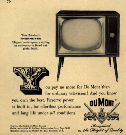 Allen B. DU Mont Laboratorie's Thorndyke Television – You pay no more for a Du Mont than for ordinary television! And you know you own the best. Reserve power is built in, for effortless performance and (1956)