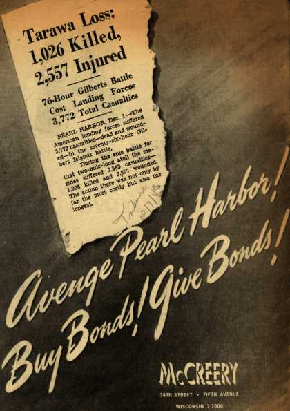 McCreery's War Bonds – Avenge Pearl Harbor! Buy Bonds! Give Bonds (1943)