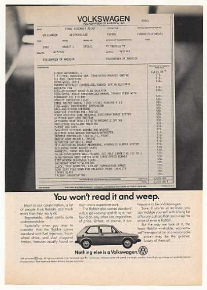 VW Volkswagen Rabbit Window Sticker Won't Weep (1982)
