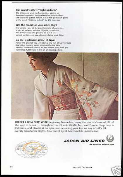JAL Japan Airlines Hostess Photo Kimono (1966)
