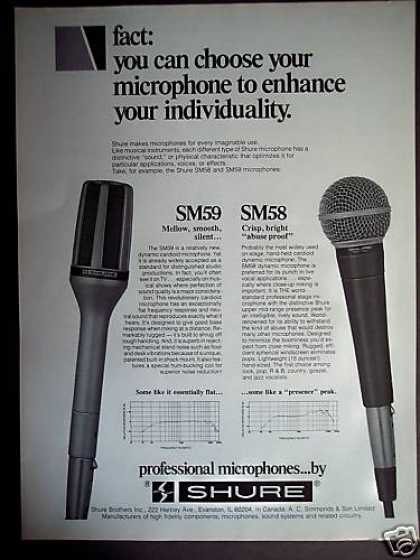 Shure Professional Microphones Sm59 Sm58 (1980)
