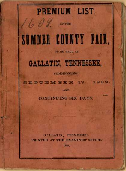Sumner County – Premium List of the Sumner County Fair (1869)