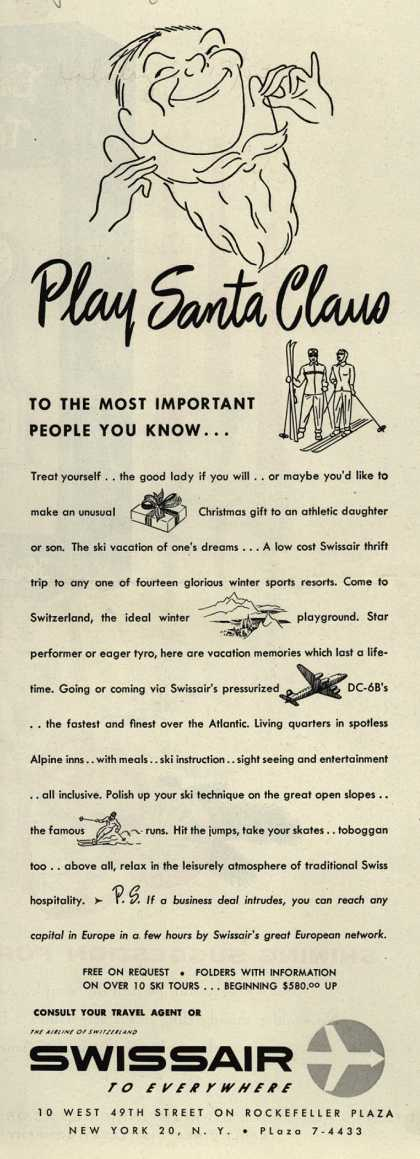 SwissAir's Swissair – Play Santa Claus to the most important people you know... (1953)
