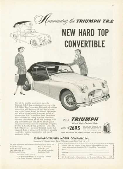 Triumph Tr 2 Sports Car Ad Hard Top Convertible (1955)