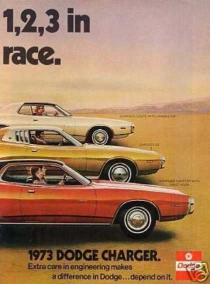 Dodge Charger Cars Ad 2 Page (1973)