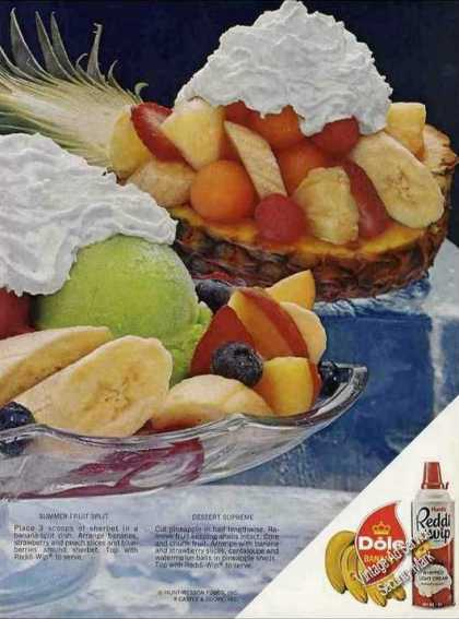 Reddi Wip With Fruit Ad With Recipes (1974)