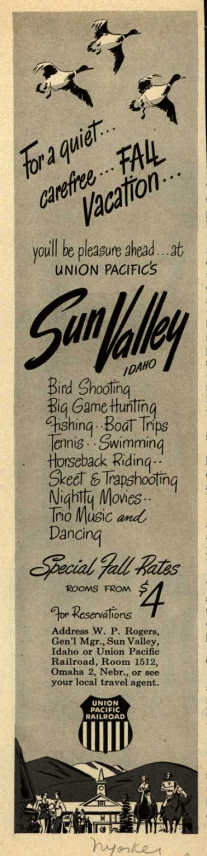 Union Pacific Railroad's Sun Valley, Idaho – For a quiet...carefree...Fall Vacation... (1950)