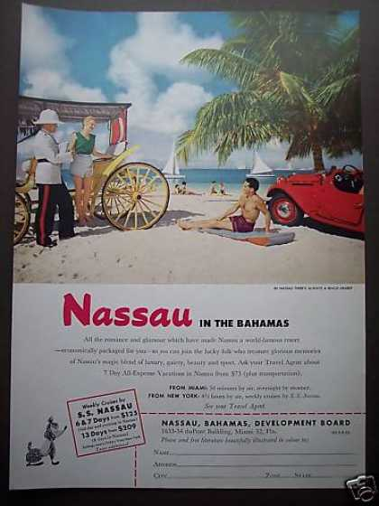 Nassau Bahamas Carriage On the Beach Photo (1953)