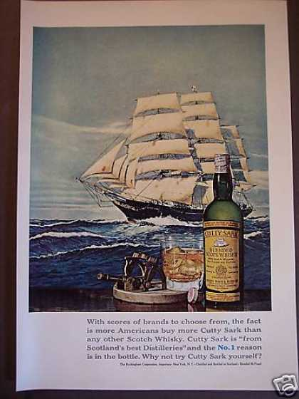 Cutty Sark Scotch Whiskey Ship Art (1967)