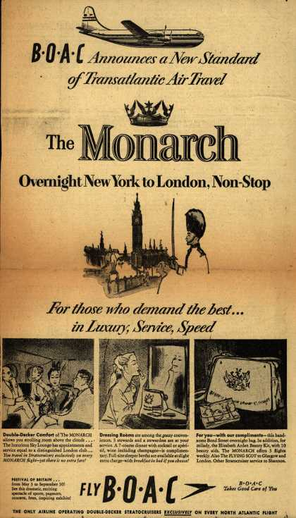 British Overseas Airways Corporation's Monarch to London – BOAC Announces a New Standard of Transatlantic Air Travel (1951)