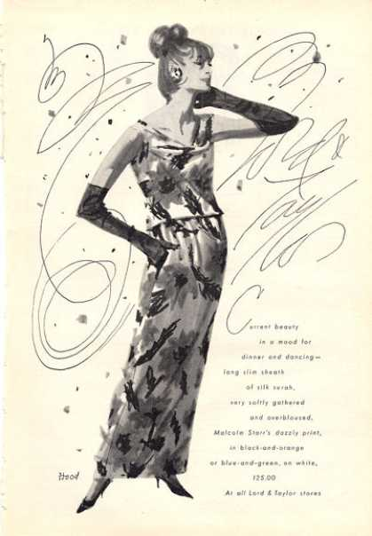 Lord & Taylor Fashion Surah Silk Dress Art (1964)
