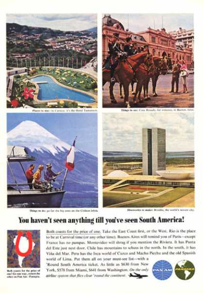 Pan Am Panagra South America Brasilia (1964)