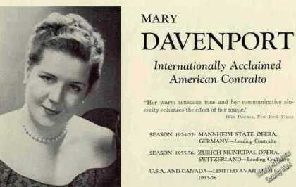 Mary Davenport Photo Contralto Trade (1955)