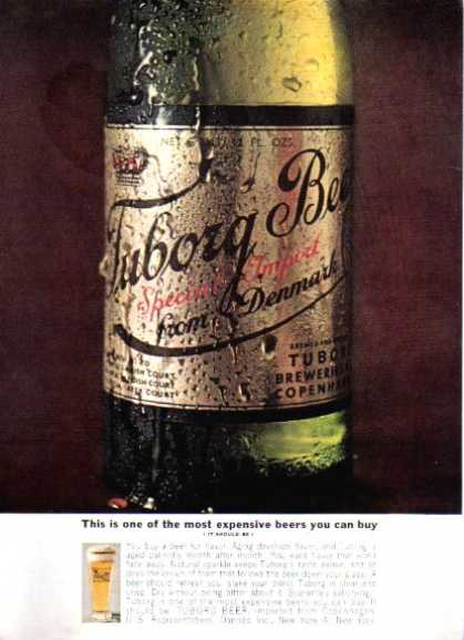 Tuborg Beer Bottle and Glass (1962)
