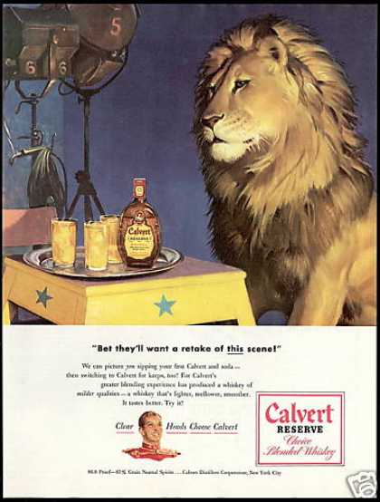 Calvert Reserve Whiskey Lion Cat Art (1948)