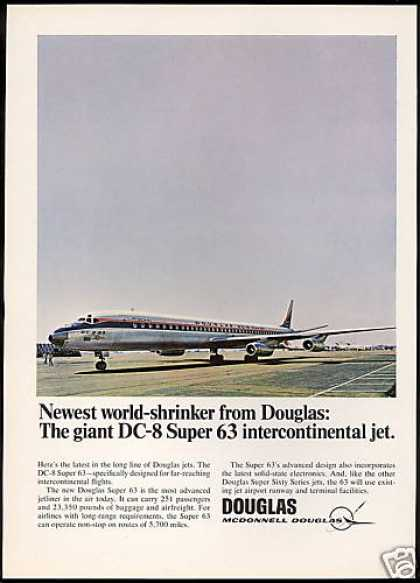 Douglas DC8 DC-8 Super 63 Jet Photo Vintage (1967)