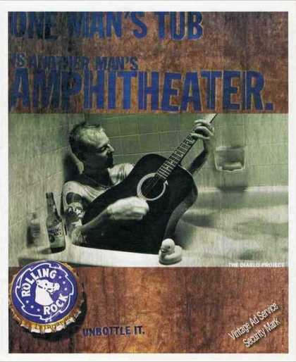 Rolling Rock Beer Man In Bathtub With Guitar (2001)