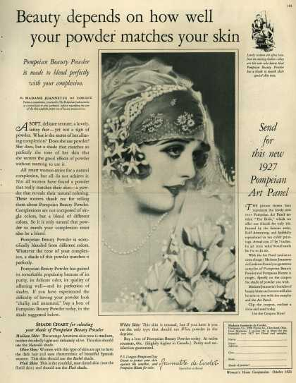 Pompeian Bloom's face powder – Beauty depends on how well your powder matches your skin (1926)