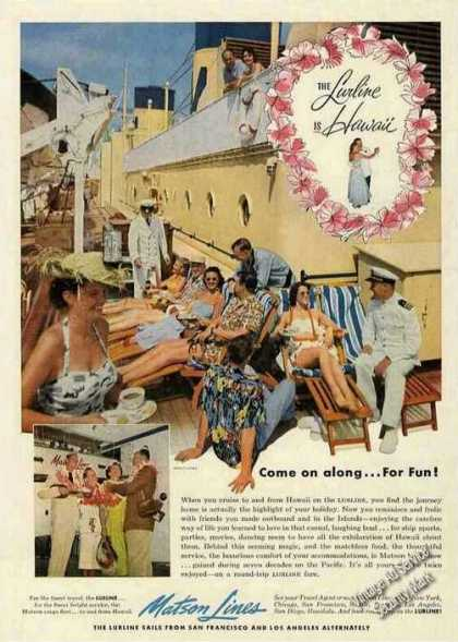 "Matson ""The Lurline Is Hawaii"" Shipboard Photo (1953)"