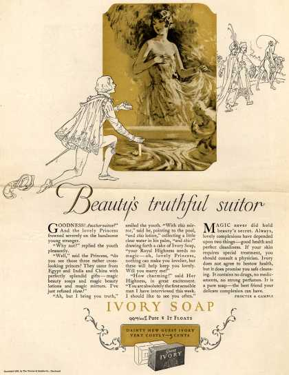 Procter & Gamble Co.'s Ivory Soap – Beauty's truthful suitor (1926)
