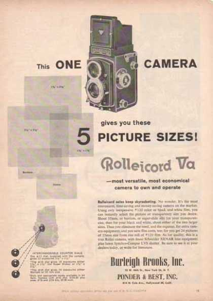 Rolleicord Va Camera – Camera that gives you 5 Sizes of pictures (1958)