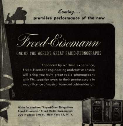 Freed Radio Corporation's radio-phonograph – Coming...premiere performance of the new Freed-Eisemann (1946)