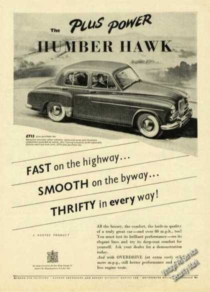 Humber Hawk Uk Print Ad Cars (1956)