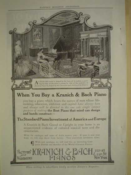 Kranich Bach Piano's AND Coopers original spring needle underwear (1909)