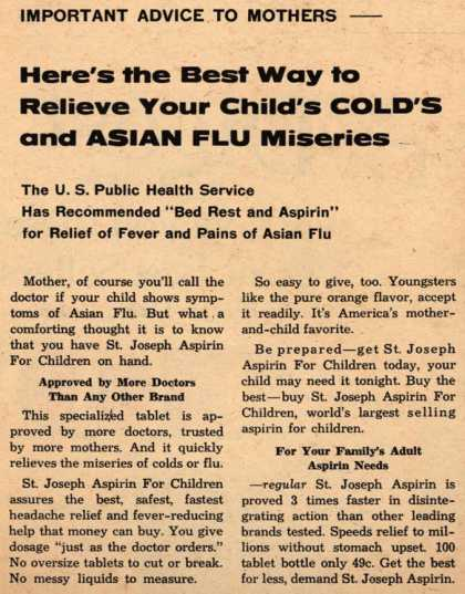 Plough's St. Joseph Aspirin – Here's the Best Way to Relieve Your Child's Cold's and Asian Flu Miseries (1958)
