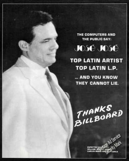 Jose Jose Photo Top Latin Artist Promo (1986)