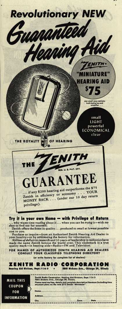 Zenith Radio Corporation's Hearing Aids – Revolutionary New Guaranteed Hearing Aid (1949)