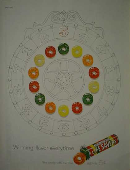 Lifesavers Five Flavor Spinning Wheel theme Winning flavor (1960)