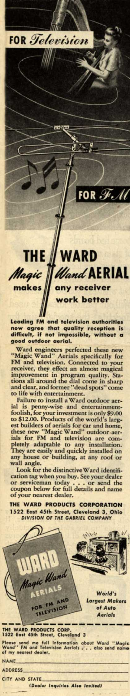 Ward Products Corp.'s Television Aerial – For Television For FM The Ward Magic Wand Aerial (1947)