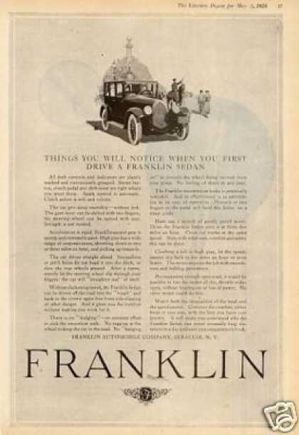 "Franklin Car Ad ""Things You Will Notice... (1924)"