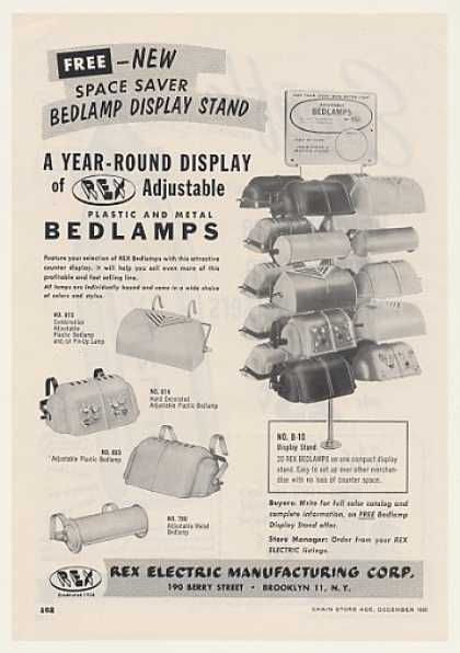Rex Electric Plastic and Metal Bedlamps Trade (1955)