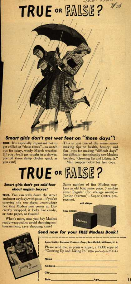 Modes's Sanitary Napkins – True or False? (1950)