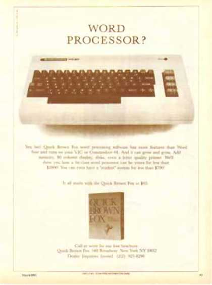 Quick Brown Fox Software &#8211; Word Processor (1983)