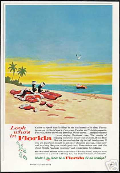 Santa Claus Tanning Florida Christmas Travel (1964)