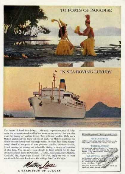 Matson Lines Upcoming South Seas Cruises Photos (1961)