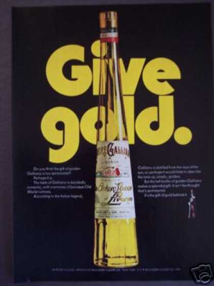 Galliano Italian Liqueur Gold Bottle (1970)