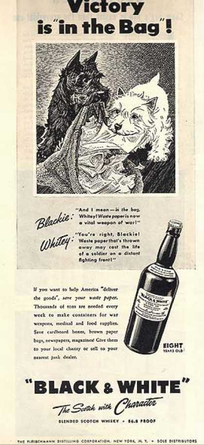 Black and White's 86.8 Proof Blended Scotch Whisky (1944)