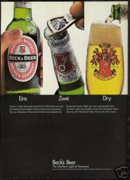 Beck's German Numbers Beer Eins Zwei Dry Photo (1968)
