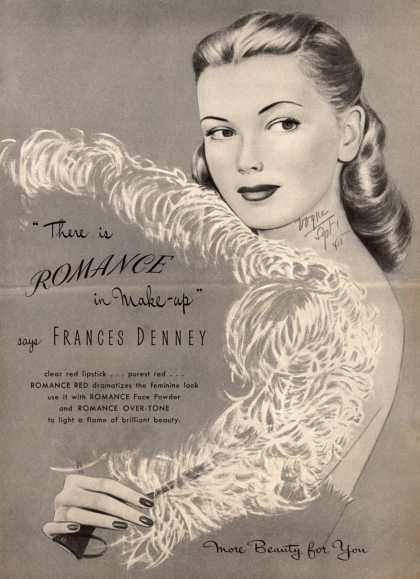 "Frances Denney's Romance Red Face Powder and Over-Tone – ""There is Romance in Make-up"" (1945)"