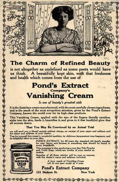 Pond's Extract Co.'s Pond's Vanishing Cream – The Charm of Refined Beauty (1910)