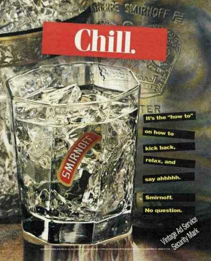 "Chill ""It's the How To"" Large Smirnoff Vodka (1991)"