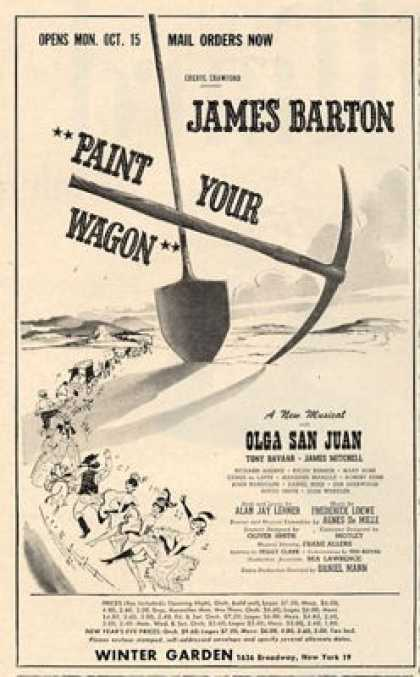 Barton Paint Your Wagon Broadway Musical (1951)