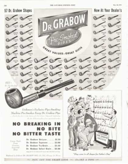 Dr Grabow Pre Smoked Pipes 59 Models Shown (1949)