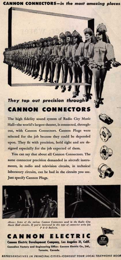 Cannon Electric Development Company's Electronics – Cannon Connectors – In the Most Amazing places! They Tap Out Precision Through Cannon Connectors (1945)