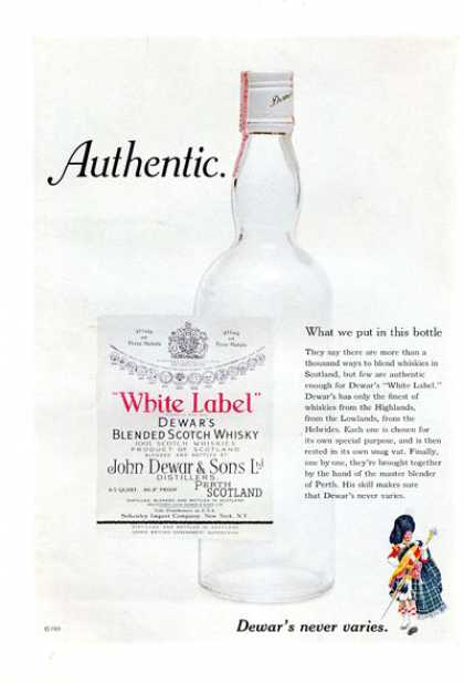Dewar White Label Scotch Whisky Bottle (1971)