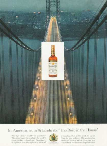 Canadian Club Whisky Ad Washington Bridge New York (1959)